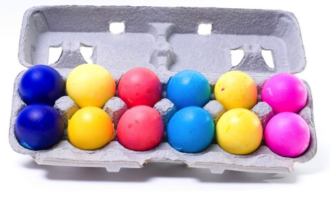 Dozen colorful eggs
