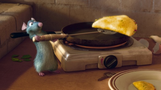 Ratatouille making an omelet