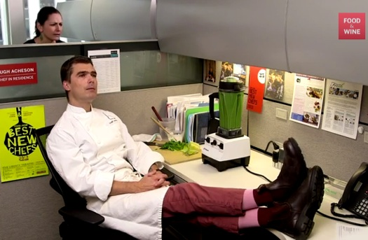 Chef in cubicle