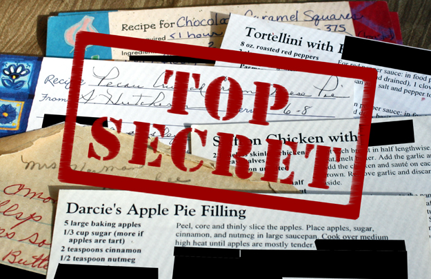 recipe cards - top secret
