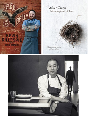 collage of cookbooks and chefs