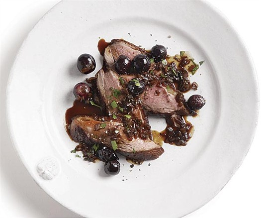 Duck breast with grapes and saba